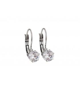 Aqua Dulce stor krystal ørering sølv